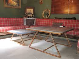 Steel Coffee Table Frame A Frame Reclaimed Wood Top Coffee Tables Square Tube Steel Frame