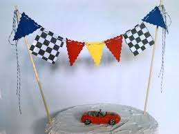 Cake Topper Boys Race Car Flags Nascar Monster Truck Cake