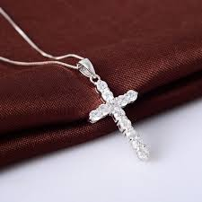 elegant cubic zirconia cross necklaces pendants sterling silver cross jewelry for women accessories