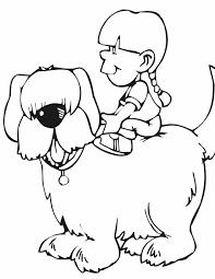 Kleurennu Lief Meisje Rijd Op Hond Kleurplaten