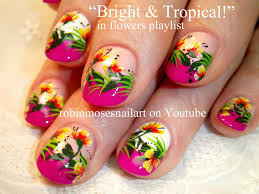 Bright Flower Nail Art Design Tutorial Nail Art By Robin Moses Bright Tropical Flowers Pink Orange