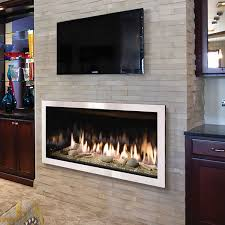 the slayton 42s gas fireplace insert models come standard with decorative black curved firebox lining