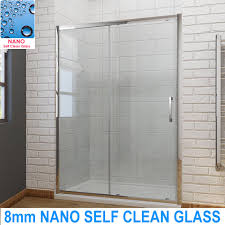 Shower Door clean shower door photographs : Bathroom Sliding Shower Door Enclosure Screen Cubicle 8mm NANO ...