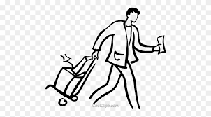 Man Walking With Luggage Royalty Free Vector Clip Art Illustration