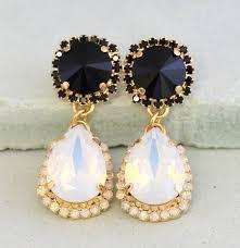 black white chandelier earrings black white opal statement earrings swarovski black white chandelier earrings black white crystal earrings