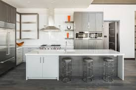 contemporary white kitchen cabinets with tile floor