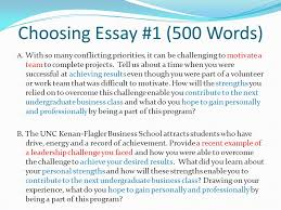 writing an effective essay the bsba application ppt video online  choosing essay 1 500 words