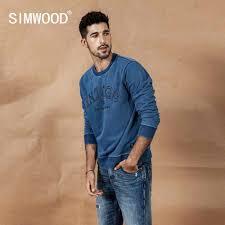 SIMWOOD 2019 autumn new indigo denim <b>hoodie men washed</b> ...