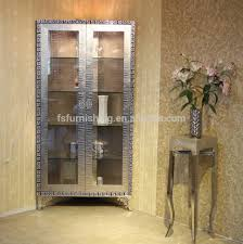 Living Room Corner Cabinet F03 Modern Contemporary Stainless Steel Silver Imitated Leather
