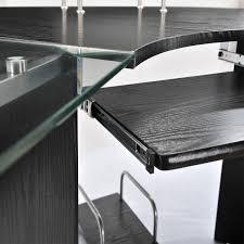 L Shaped Modern Desk Homcom 69 Modern L Shaped Symmetrical Glasstop Office Workstation