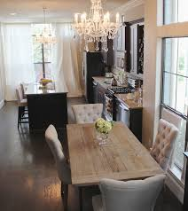Dining Room : Delighftul Open Dining Room Design With Black Kitchen Cabinet  And Restoration Hardware Dining Table Also Crystal Chandelier Make Your  Dining ...