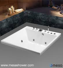 white acrylic rectangle drop in soaking tub with hydro massage function