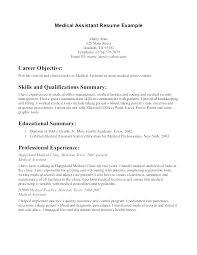 Medical Assistant Resume Objective Enchanting Medical Assistant Objective Resume For Physician Resumes Safety