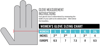 Icon Womens Gloves Size Chart