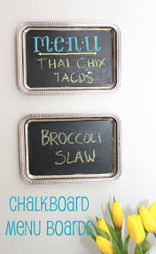 i made these inexpensive tray chalkboards to hang in our apartment kitchen they were a quick diy art for a small space
