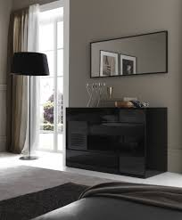 modern mirrored furniture. Small Modern Stylish Vanity Dresser With Shelves And 3 Drawers Painted Black Color Under Wall Mounted Mirror Beside Window White Curtains Ideas Mirrored Furniture