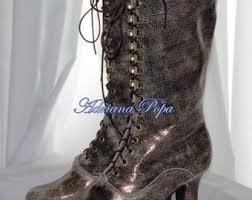 custom hand made victorian boots by victorianboots on etsy Victorian Wedding Boots For Sale tinfoil leather shoes victorian shoes in metallic bright victorian boots ankle boots bridal victorian boots lace Victorian Ladies Boots