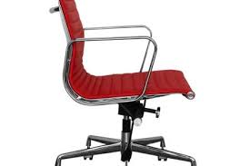 eames inspired office chair. Eames Inspired Red Leather Short Back Ribbed Style Office Chair P818 3676 Image H