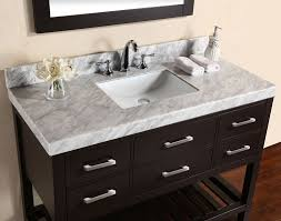 48 laa espresso single modern bathroom vanity with white marble top and undermount sink view detailed images 5