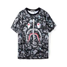 <b>Bape shark</b> teeth zipper <b>printing</b> short sleeved t shirt casual round ...