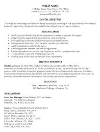 Sample Resume For Dental Assistant With No Experience Entry Level