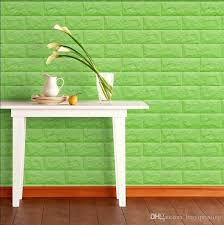 green new embossed pe foam brick wall sticker decor city