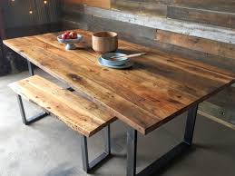 Metal And Wood Kitchen Table Reclaimed Industrial Chic 6 8 Seater Solid Wood And Metal Dining