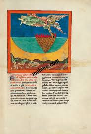 96r the angel with the second trumpet the burning mountain is cast into the sea