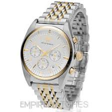 new mens emporio armani gold chronograph watch ar0396 rrp image is loading new mens emporio armani gold chronograph watch ar0396