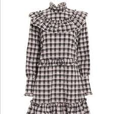 Ganni Gingham Ruffle Dress Nwt Nwt
