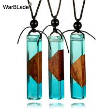 warblade natural stone pendant necklace handmade wood resin
