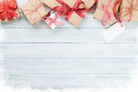 Gifts Background Christmas Wooden Background With Gift Boxes And Snow