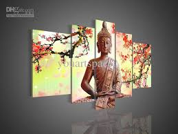 2018 5 panel wall art religion buddha oil painting on canvas modern abstract huge chinese prints from youartspace 69 64 dhgate com