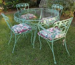 VINTAGE WROUGHT IRON PATIO SET DOGWOOD BLOSSOMS \u0026 BRANCHES SAGE GREEN 8 PCS  Clean And Lovely Pinterest a