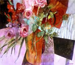 shirley trevena red flowers on a black table 1998 watercolour