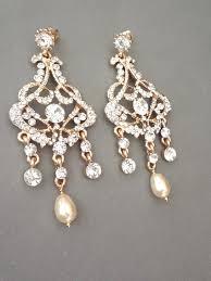 chandelier pearl earrings gold pearl chandelier earrings brides by queenmejewelryllc