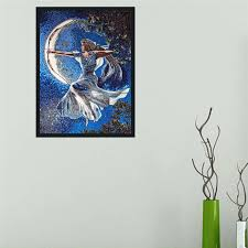 cs pm15 moon dess mosaic mural with frame wall hanging