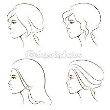 Simple Line Illustrations Of A Beautiful Woman Face From Profile