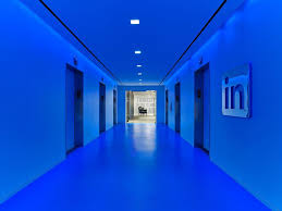 linkedin new york office. LinkedIn New York Office Bright Blue Lobby Linkedin D