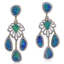 image is loading pave diamond doublet opal chandelier earrings gold silver