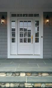 transome and sidelites with wood 3 4 french front door painted white bluestone and glass roof