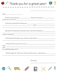 Collection Of Solutions End Of Year Teacher Thank You Note Parents