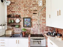 Kitchen:Earthy Kitchen With Exposed Brick Wall And Mosaic Backsplash And  Modern Appliance Gorgeous Image