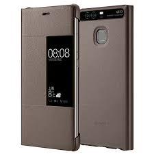 huawei phone p9 plus. official huawei p9 plus smart view flip case - brown phone 4