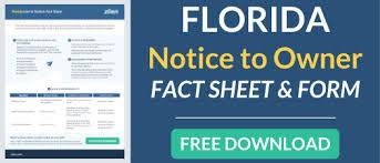 notice to owner form florida florida notice to owner zlien
