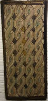 view large image cable or rope antique hooked rug