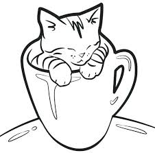 cat coloring page. Wonderful Page Cute Kitty Cat Coloring Pages Page Kitten In A  Cup Realistic Big   With Cat Coloring Page