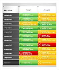 Vendor Comparison Chart Template Comparison Worksheet Templates 13 Free Excel Pdf Word