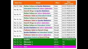 Psl 2018 Pakistan Super League Schedule Best Time Table
