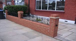 majestic looking front garden wall designs brick railings on top